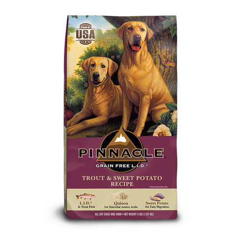 PINNACLE GRAIN FREE TROUT & SWEET POTATO DRY DOG FOOD (12 LB)