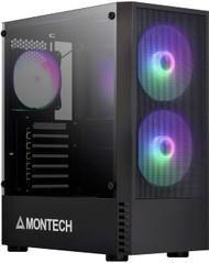 Montech X2 Mesh Black Mid Tower Computer Case with Glass Side Panel  and Fine Mesh Front Panel