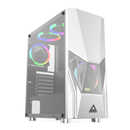 Montech  Fighter 500 White Mid Tower Computer Case with Tempered Glass and Four Rainbow LED Fans