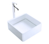 Cloud II Vessel Sink Solid Surface with Designer Drain Cover - 15.7""