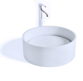 Enna II Vessel Sink Solid Surface with Designer Drain Cover 15.8""