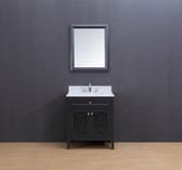 Rocca Transitional Bathroom Vanity Set with Carrera Marble Top Charcoal Gray 30""