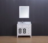 Rocca Transitional Bathroom Vanity Set with Carrera Marble Top White 36""