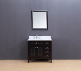Rocca Transitional Bathroom Vanity Set with Carrera Marble Top Espresso 36""