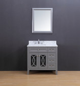 Rocca Transitional Bathroom Vanity Set with Carrera Marble Top Gray 36""
