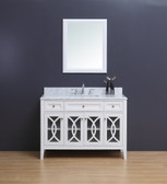 Rocca Transitional Bathroom Vanity Set with Carrera Marble Top White 48""
