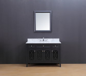 Rocca Transitional Bathroom Vanity Set with Carrera Marble Top Charcoal Gray 48""