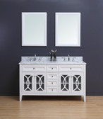 Rocca Transitional Bathroom Vanity Set with Carrera Marble Top White 60""