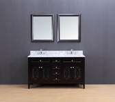 Rocca Transitional Bathroom Vanity Set with Carrera Marble Top Espresso 60""