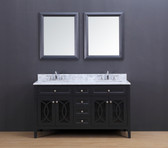 Rocca Transitional Bathroom Vanity Set with Carrera Marble Top Charcoal Gray 60""