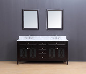 Rocca Transitional Bathroom Vanity Set with Carrera Marble Top Espresso 72""