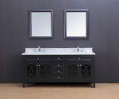 Rocca Transitional Bathroom Vanity Set with Carrera Marble Top Charcoal Gray 72""