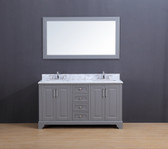 Franklin Transitional Bathroom Vanity Set with Carrera Marble Top Gray 60""