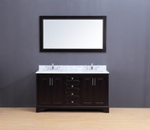 Franklin Transitional Bathroom Vanity Set with Carrera Marble Top Espresso 60""