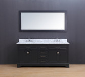 Lincoln Transitional Bathroom Vanity Set with Carrera Marble Top Charcoal Gray 72""