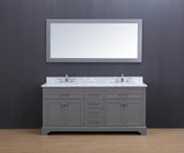 Lincoln Transitional Bathroom Vanity Set with Carrera Marble Top Gray 72""