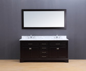 Lincoln Transitional Bathroom Vanity Set with Carrera Marble Top Espresso 72""