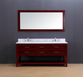 Neva Transitional Bathroom Vanity Set with Carrera Marble Top Cherry 72""