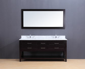 Neva Transitional Bathroom Vanity Set with Carrera Marble Top Espresso 72""