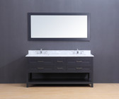 Neva Transitional Bathroom Vanity Set with Carrera Marble Top Charcoal Gray 72""