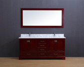 Cesano Transitional Bathroom Vanity Set with Carrera Marble Top Cherry 72""