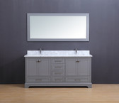 Cesano Transitional Bathroom Vanity Set with Carrera Marble Top Gray 72""