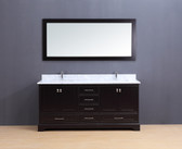 Cesano Transitional Bathroom Vanity Set with Carrera Marble Top Espresso 72""