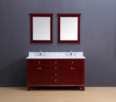 Madison Transitional Bathroom Vanity Set with Carrera Marble Top Cherry 60""