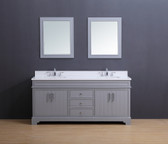 Marina Transitional Bathroom Vanity Set with White Quartz Top Gray Stain 72""