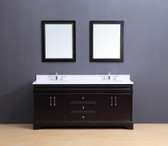 Marina Transitional Bathroom Vanity Set with White Quartz Top Espresso 72""