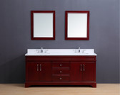 Marina Transitional Bathroom Vanity Set with White Quartz Top Cherry 72""