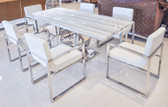 "Uscio IV Marble Dining Table 79"" - White Lines"