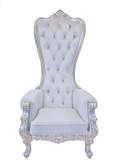 Baroque Throne Chair Queen High Back Chair White Velvet and Silver