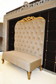 Adonis II Chaise High Back Sofa Beige Velvet with Gold Leaf Frame
