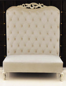 Adonis II Chaise High Back Sofa White Velvet and Silver Frame
