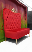 Adonis High Back Chair Red Velvet with Gold Crown