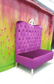 Adonis High Back Chair Purple Velvet with Silver Crown