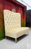 Adonis High Back Chair Beige Velvet with Gold Crown