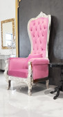 Pink Leather Baroque Throne Chair Queen High Back Chair Silver Frame