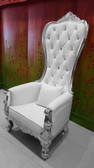 Baroque Throne Chair Queen High Back Chair White Leather and Silver