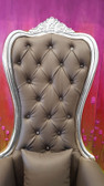 Baroque Throne Chair Queen High Back Chair Gray Leather and Silver