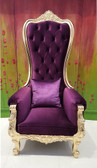 Baroque Throne Chair Queen High Back Chair Purple Velvet and Gold
