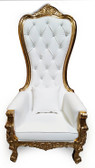 Baroque Throne Chair Queen High Back Chair White Leather and Gold
