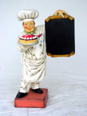 Baker with Menu Board and Cake Statue