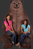 Grizzly Bear Sitting Jumbo Statue with Paw Seat