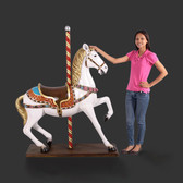 Large Carousel Horse Statue White with Flowers