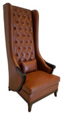 Duchess High Back Wing Chair Upholstered in Brown Leather