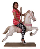 Large Carousel Horse Statue in White and Pink
