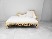 Claudette Chaise Lounge Sofa White Leather Gold Frame