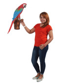 Red and Blue Macaw Parrot on Branch Life Size Sculpture Wall Decor